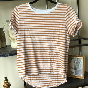 A New Day Striped Crew Neck Tee with Ruffle Sleeve